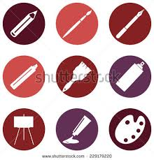 Painting Icon Set Flat Painting Icons Pen Pencil Stock Vector 311419820