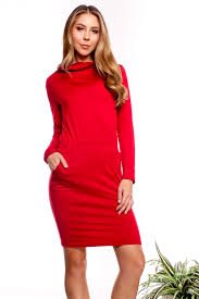 burgundy long sleeve turtle neck front pockets casual dress cute