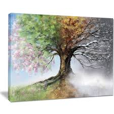 tree with four seasons tree painting canvas print overstock
