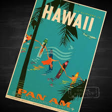 Hawaii Travel Art images Pop tropical island of hawaii travel vintage retro kraft poster jpg