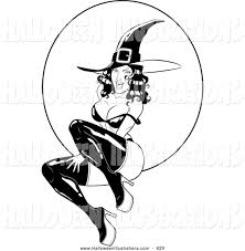 halloween clip art of a creepy witch flying over a full moon by