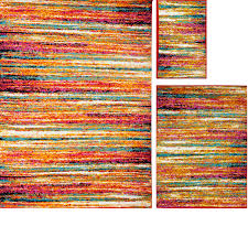 Rug Color Modern Rugs 3 Piece Set Contemporary Area Rug Multi Color Accent