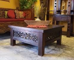 square carved panel teak coffee table u0026 carved daybed from
