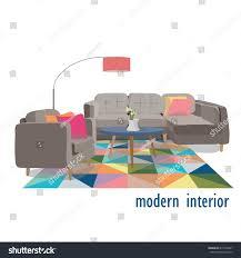 modern living room illustrationhome interior design stock vector