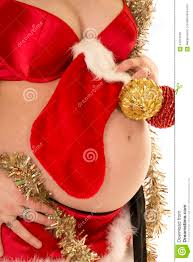pregnant woman belly up close christmas stock photo image