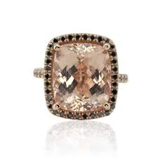 morganite gold engagement ring gold engagement ring with morganite and black diamond halo
