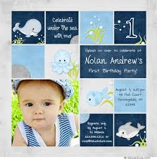 under the sea 1st birthday invitation splash little boy u0027s party