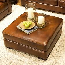Leather Top Ottoman Soho Top Grain Leather Cocktail Ottoman In Rustic Brown Dcg Stores