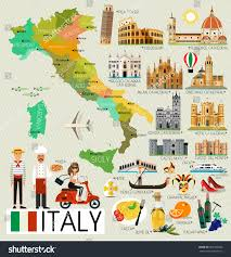 Map Of Florence Italy Map Italy Travel Iconsitaly Travel Map Stock Vector 669109300