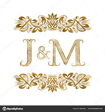 j and m vintage initials logo symbol the letters are surrounded