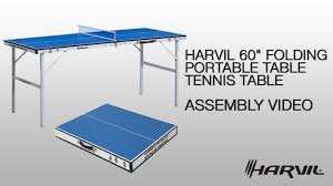 collapsible table tennis table assembly video harvil 60 folding portable table tennis table