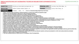 nanotechnology engineering technician resume sample