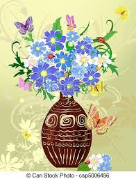 Clipart Vase Of Flowers Clip Art Vector Of Wild Flowers In A Vase Csp5006456 Search