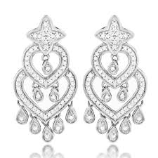 chandelier earrings 14k gold diamond chandelier earrings 0 42ct