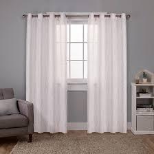 Sheer Curtains Grommet Top Exclusive Home Woodland Printed Metallic Branch Textured Linen
