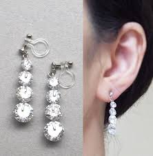 bridal clip on earrings bridal clip on earrings cubic zirconia invisible clip on earrings