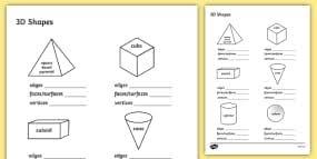 3d shape properties worksheets 3d shapes shape properties