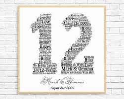 12 year anniversary gift for him personalized 12th anniversary gift word printable