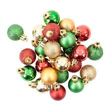 mini plastic ornament set green gold 25ct