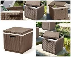 Patio Cooler Table Patio Cooler Box Cube Garden Side Table Rattan Plastic