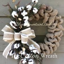 the cotton burlap wreath cotton wreath fall wreath front door