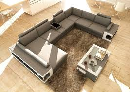 grey and white leather sectional sofa with coffee table vg080