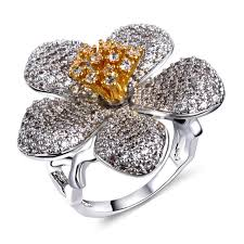 big flower rings images New women cocktail party rings big flower gold color pistil jpg