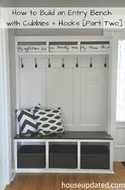 Pottery Barn Entryway Bench And Shelf How To Build An Entry Bench With Cubbies And Hooks Part Two