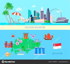 Singapore Flag Button Colored Singapore Culture Banner Set U2014 Stock Vector Macrovector