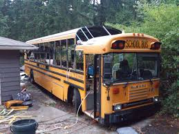 skoolie slanted section after roof lift bus conversion resources