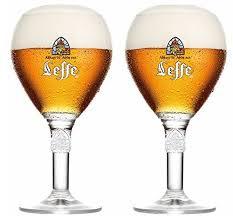 bicchieri birra belga leffe glasses 33cl set of 2 large stem 2 leffe mats