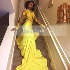 sell yellow african prom dress 2017 long sleeve see through