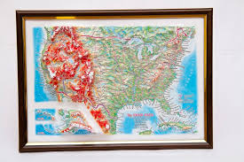 us relief map raised relief map of the us framed 12 x9 what if scientific