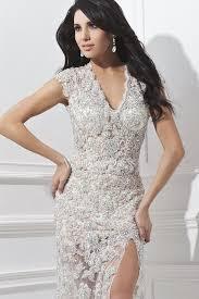 v neck short sleeve white color sequined evening cocktail dress