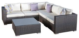 francisco outdoor 6 piece wicker seating sectional set with