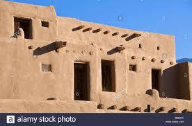 pueblo adobe houses inhabited adobe houses taos pueblo new mexico usa stock photo