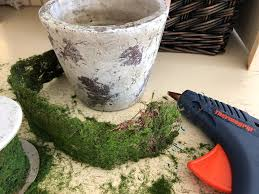 moss ribbon diy weathered moss floral container yarn scissors silk