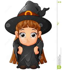 little cartoon wearing witch costume stock vector image