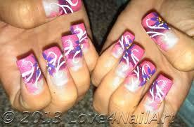 love4nailart groovy girly flower nail art design