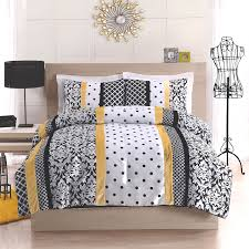 White Gray Comforter Attractive Grey And White Comforter With Yellow Combination Of