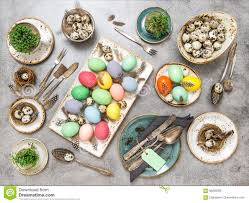 Easter Table Decorations by Easter Table Decorations Colored Eggs Flat Lay Stock Photo Image
