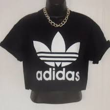 adidas crop top sweater unisex customised adidas crop top t shirt from ghettoretroclothin