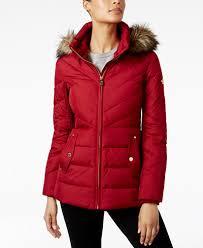 Plus Size Down Coats Michael Michael Kors Plus Size Faux Fur Trim Chevron Quilted Down