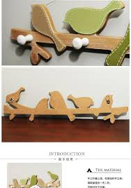 birds coat hooks key holder wall wood coat rack hat hooks towel