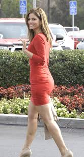 tight dress menounos in tight dress at set of in los angeles
