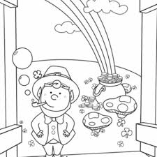 printable rainbow pot gold coloring pages kids