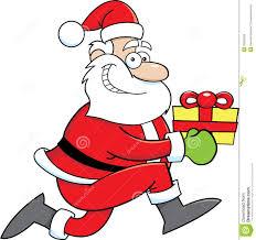 cartoon santa claus with a gift royalty free stock photos image