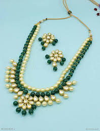 emerald green fashion necklace images Buy beautiful emerald green vilandi kundan necklace set online jpg