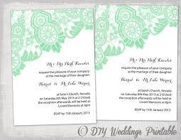 Diy Wedding Invitations Templates Diy Wedding Invitation Template Editable Mint Green