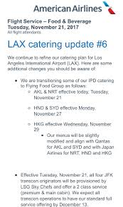 11 22 american airlines lax catering update the forward cabin